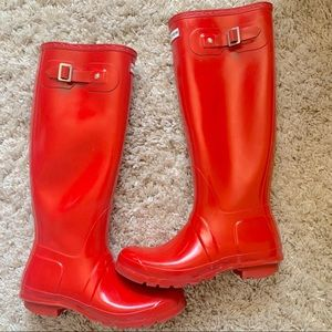 Hunter tall boots gloss red original rain boot